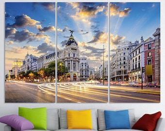 Madrid Spain Calle de Alcala Gran Via Madrid Canvas Madrid Art Madrid Wall Art Madrid print Madrid Photo Madrid Poster Madrid Wall Decor