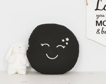 Full moon baby pillow nursery decor cushion with cute embroidered face