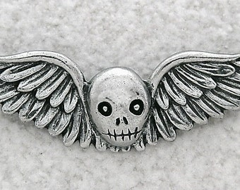 Green Girl Studios Pewter Winged Skull Pendant