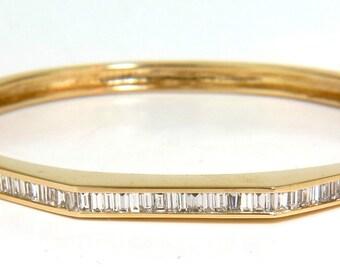 2.50CT Diamond Bangle Baguette Channel Bracelet 14KT