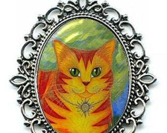 Sun Cat Necklace Rajah Golden Cat Orange Cat Cameo Pendant 40x30mm Gift for Cat Lovers Jewelry