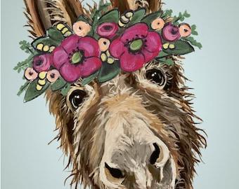 Donkey art print, Cute Donkey decor. Donkey prints. funny donkey art, farmhouse art print, fun donkey art, donkey with flower crown art