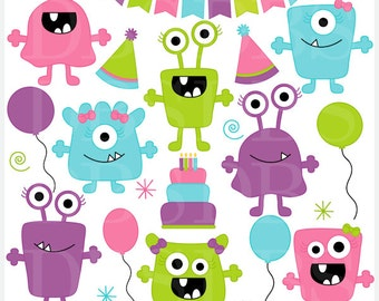 monster aliens clipart clip art birthday party - Girl Monsters Birthday Bash Digital Clip Art - BUY 2 GET 2 FREE