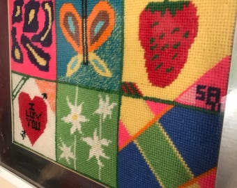Vintage 1970's Colorful Pop Art Needlepoint Wall Hanging