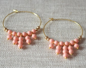 Pink Coral Hoops, Boho Earrings, Beaded Jewelry, Gold Vermeil, Swarovski Crystal Pearls, Bohemian, Faux Coral, Summer Fashion Accessory