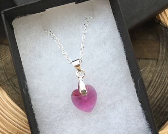 Silver and Pink Swarovski Heart Necklace 10.3x10mm