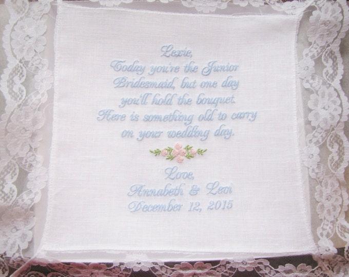 Junior Bridesmaid Personalized Wedding Handkerchief