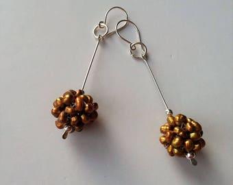 """2.5"""" Long Sterling Silver Dangle Earrings, Freswater Pearls Drop Earrings, Timeless Silver Earrings, Silver Ball Earrings."""