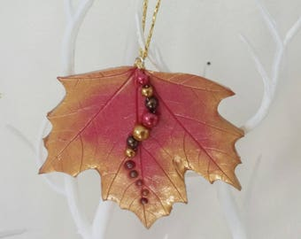Sycamore leaf decoration, hanging leaf decoration, woodland decor, christmas tree decoration, leaf ornament, autumn decor, christmas decor