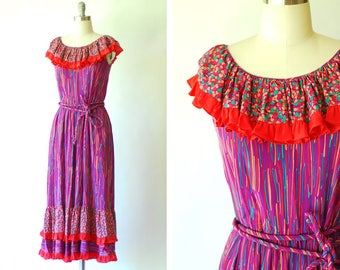 vintage Mary McFadden silk print dress / size small medium