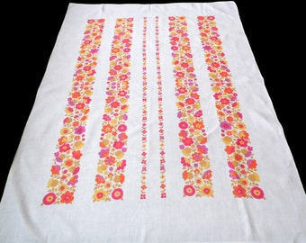 Vintage linen printed floral tablecloth . Beautiful  Flowers
