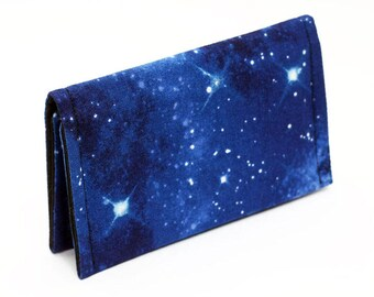 Card Holder, Cute Mini Wallet, Night Sky Business Card Case, OOAK Gift Card Wallet, Small Nebula Wallet Unisex - blue galaxy with stars