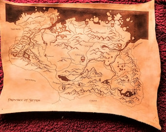 Leather Skyrim Laser Etched Map