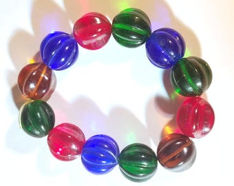 Vintage Jewel Tone Melon Glass Beads