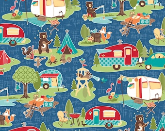 Riley Blake Road Trip Blue Main Cotton Fabric by Kelly Panacci -  campers camping trailers cotton precut squares quilting bears