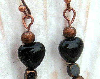 Antique Copper and Black Heart Earrings,Jewelry