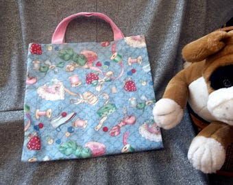 Book Lunch N Small Gift Tote Bag, Vintage Sewing Items Print