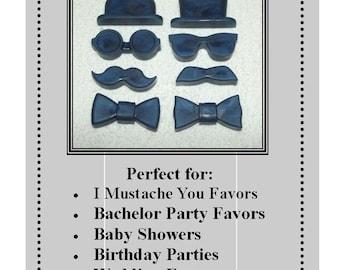 Set of 10 Gentleman's Soap Set, Men's Soap, Mustache Soap Set, Groomsmen Soap Set, Birthday Party Favor, Gender Reveal Favors