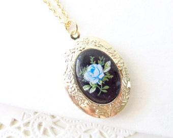 Vintage Rose Locket Necklace 16k Gold Plated  Floral Locket- Gold Locket - Oval Locket - Keepsake - Vintage Limoges - Blue Rose Locket