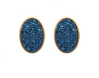 Druzy Stud Earrings - Druzy Studs - Royal Blue Druzy - Gold Studs - Large Oval Studs - Gold Stud Earrings