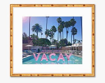 Permanent Vacay -- Poolside Pink Foil Balloons -- Travel Photography -- Gallery Wall