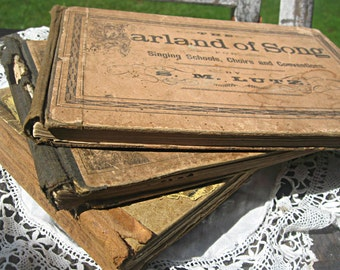 Antique song/choir books, religious, set of 3 hymnals, mixed media, gospel hymn books, altered art, decorative books, sepia color song book