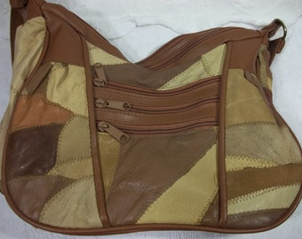 Tan and Brown Patch Work Purse, with Zippered Front