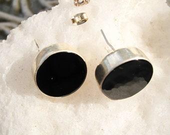 Vintage Black Onyx Earrings Set in Sterling Silver