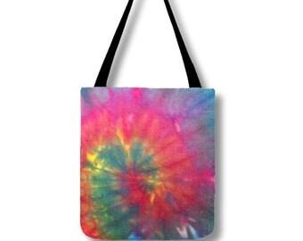 Tote Bag-Tie Dye Tote-Shoulder Bag-Pink Green Blue-Hippie Bag- 13x13, 16x16, or 18x18-Lined, pockets, adjustable strap