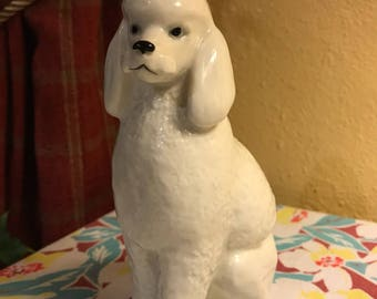 Vintage Lomonosov White King Poodle Porcelain Figurine from the USSR