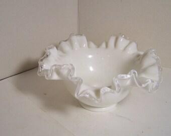 Fenton White Silver Crest Bowl