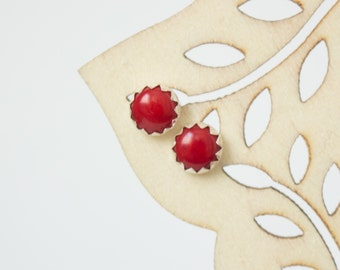 Red Coral Post earrings , Sterling Silver Studs , Post Earrings 6mm Serrated setting , Red Coral earnings