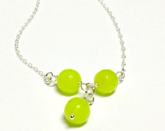 Lime Green Necklace - Jade Jewellery - Sterling Silver Chain - Gemstone Jewelry - Gift - Unique - Handcrafted - Neon - Fluorescent - Pendant