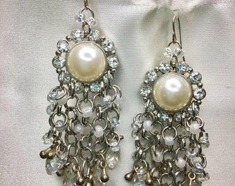 Pearl-Crystal Earrings
