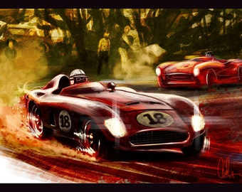 Automotive Art Grand Prix 16x24 Metallic Print