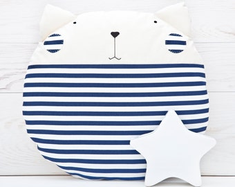 Blue Pillow, Nautical Nursery Decor, Striped Cat Cushion, Navy Round Pillow, Baby Shower Gift, Cat Toy, Baby Boy Bedding, Cat Lover Gift