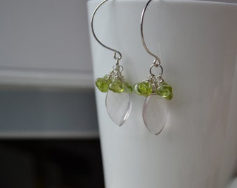 Rose Quartz and Peridot Cluster Earrings Handmade Wire Wrapped