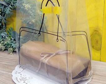 20 Black Line Bag Design Transparent Bags (9.8 x 13.6in)