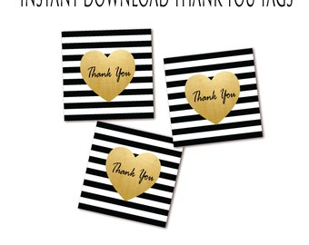 Black White & Gold Thank You Tags - Striped Favor Tag - Gold Heart - Instant Download - Printable