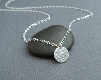 """delicate necklace - silver circle. simple. minimalist. dainty. tiny. sterling. hammered pendant. 3/8"""". ready to ship gift for her"""
