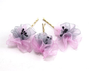 Light Pink and Gray Organze Ribbon Flower, Wedding Bobby Pin, Hair Pins-3pcs