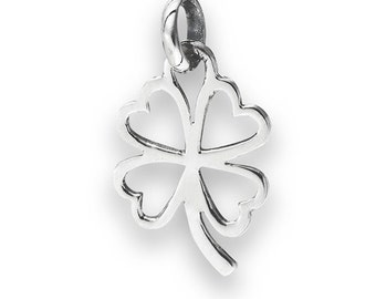 "Sterling Silver Four Leaf Clover Pendant on 18"" silver chain"