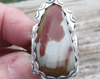 Indianische inspirierte Ring Picture Jasper Ring Edelstein Ring Jasper Ring Sterling Silber Ring Größe 9 Ring
