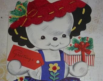 Cute Snowgirl Vintage 1950s Flocked Greeting Card