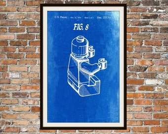 Lego Patent - Blueprint Art of a Lego Figure Man Person No.9 Technical Drawings Engineering Drawings Patent Blue Print Art Item 0082