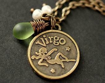 Virgo Astrology Necklace. Zodiac Necklace with Glass Teardrop and Fresh Water Pearl. Virgo Horoscope Necklace. Handmade Jewelry.