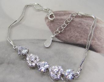Women's bracelet Double chain Silver 925 and CZ