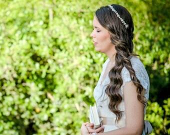 Crystal and pearl bridal crown wedding hair halo pearl head crown bride pearl hair halo ivory pearl crown bridal hair halo bridal pearl halo