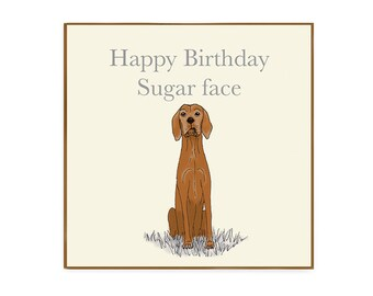 Happy Birthday Vizsla greetings card with envelope blank inside for dog lovers