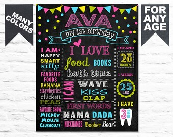SALE First Birthday chalkboard poster 1st birthday party sign milestone banner Confetti chalk board for a girl boy colorful (207)